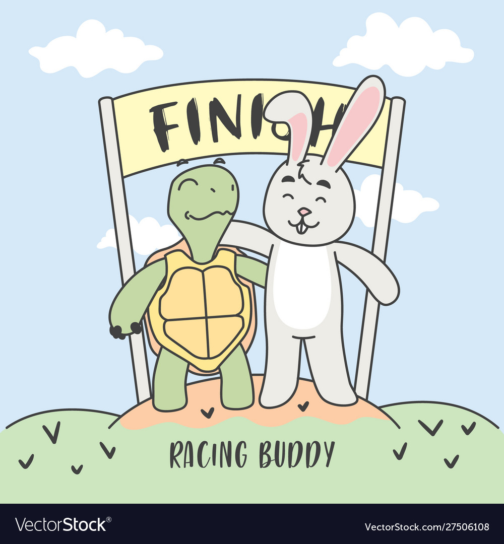 Buddy racing turtle and rabbit in finish line