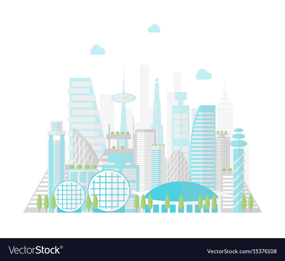 Cartoon future city on a landscape background vector image