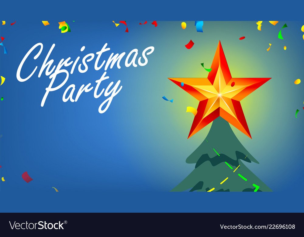 Christmas party banner with shining star and