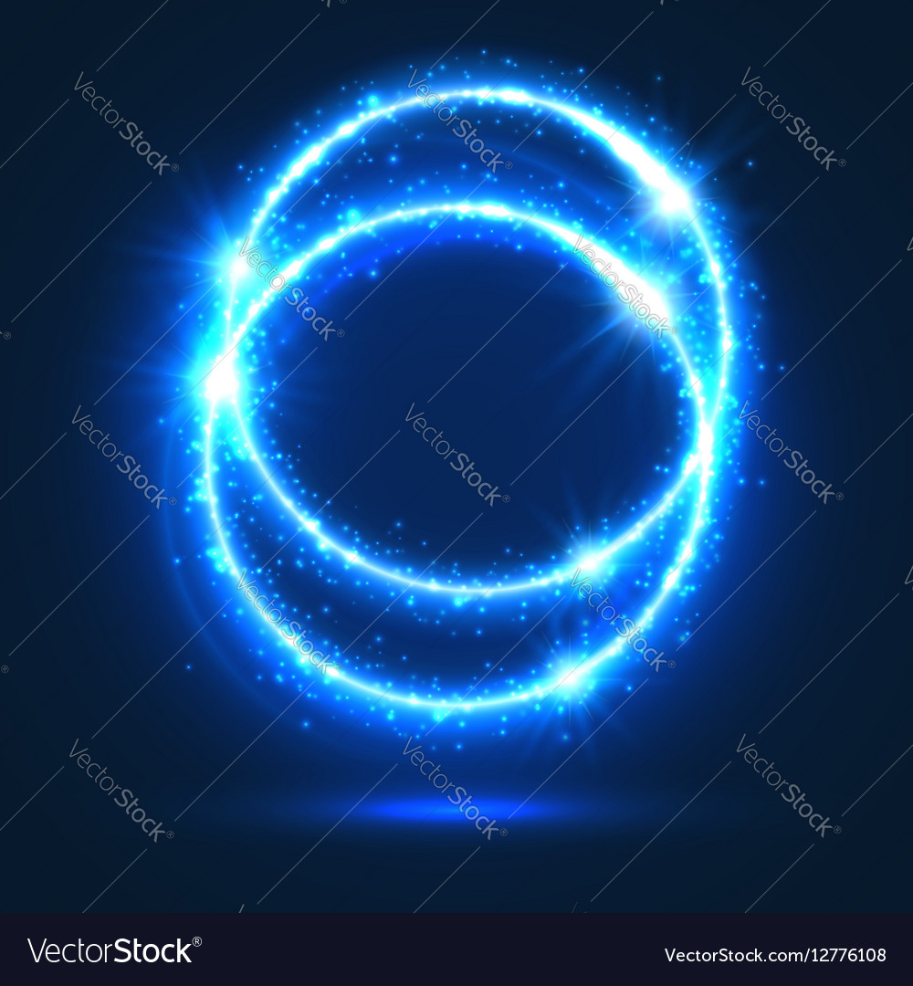 Circles of neon light flashes and sparkles