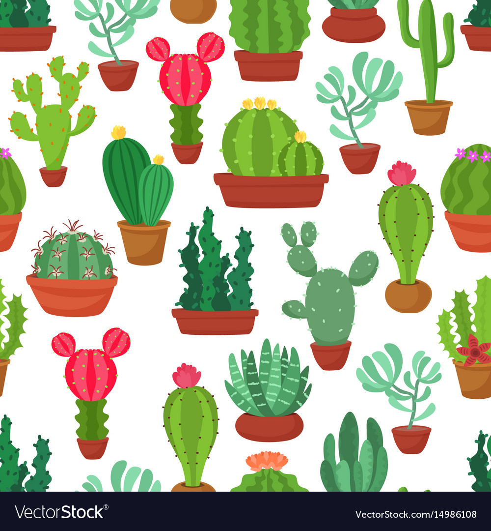 Colorful seamless pattern of funny cactus and vector image