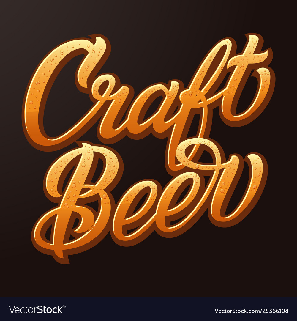 Craft beer typography lettering with beer