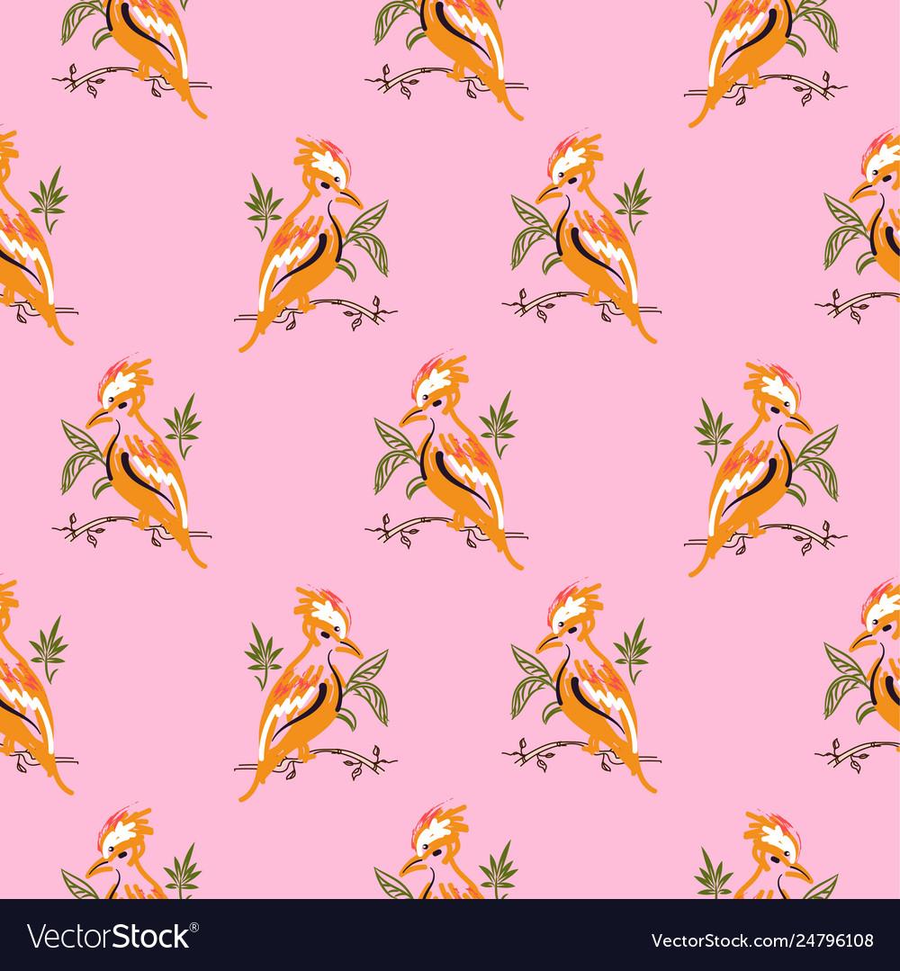Exotic orange birds seamless pattern pink