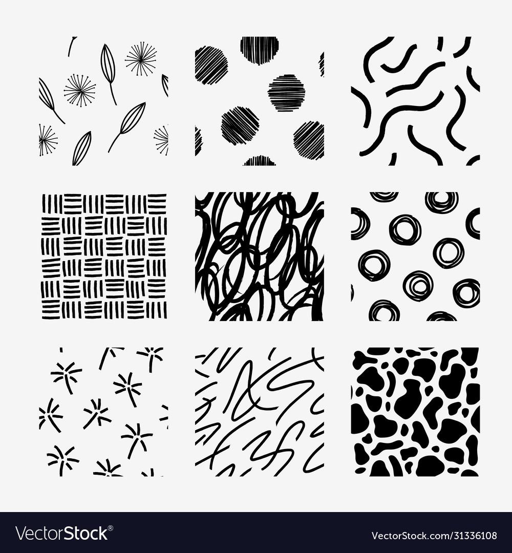 Hand draw pattern swatch set