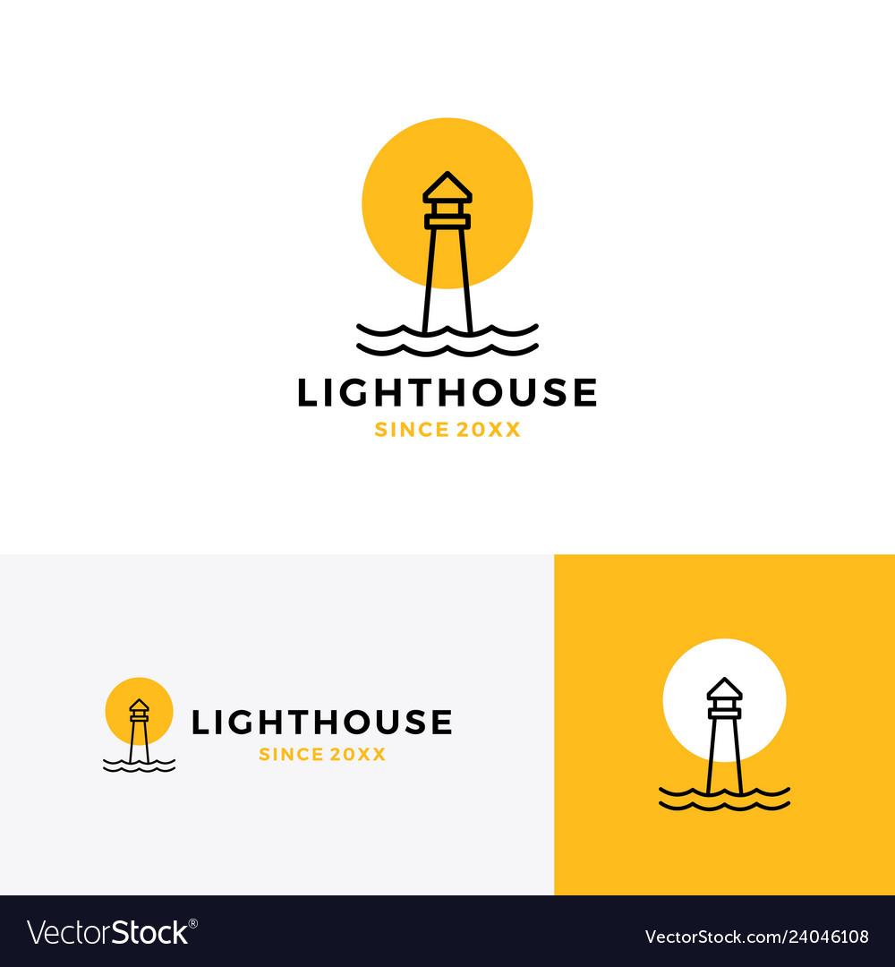 Lighthouse logo icon line outline monoline