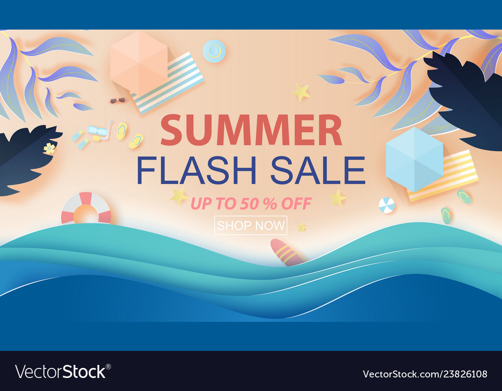 Paper art and craft style of top view summer sale