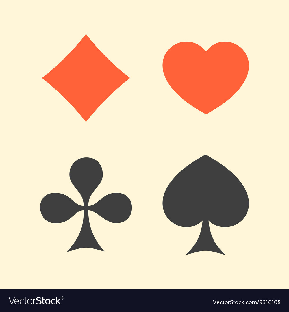Set of playing card suits flat icon logo isolated