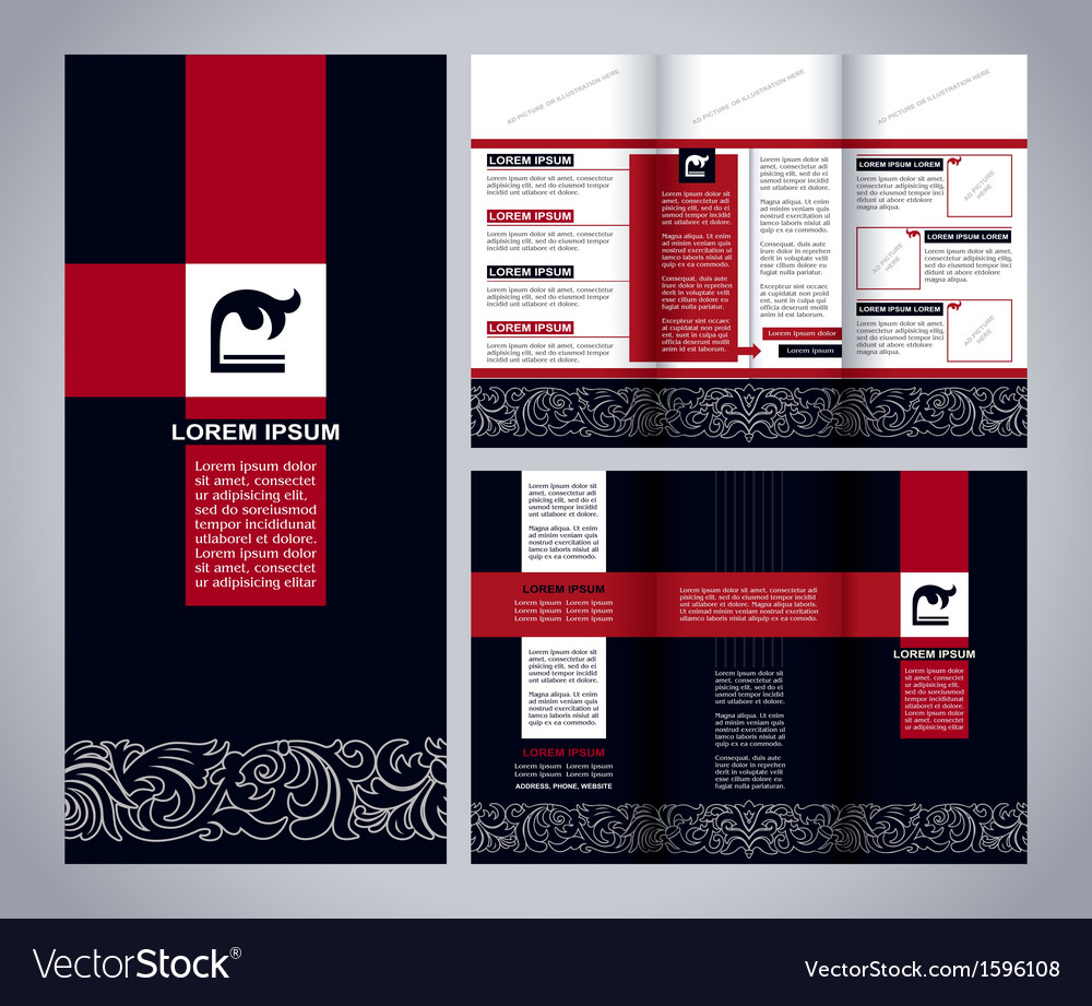 Vintage brochure template design blue and red