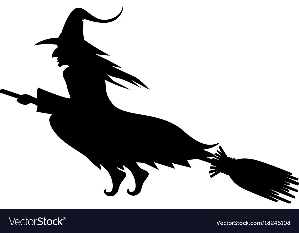 Wicked halloween witch silhouette vector image