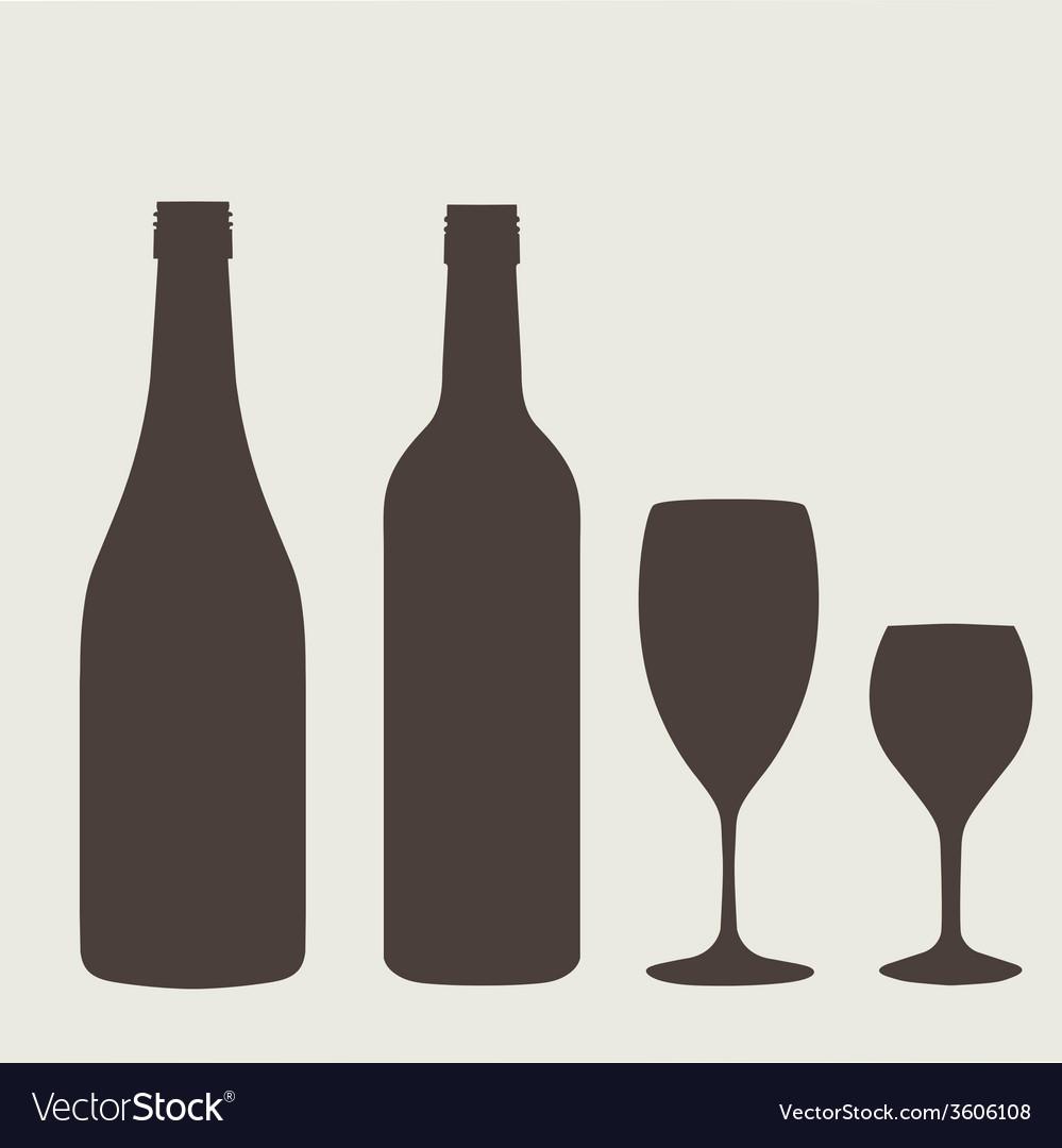 Wine bottle sign set Bottle icon