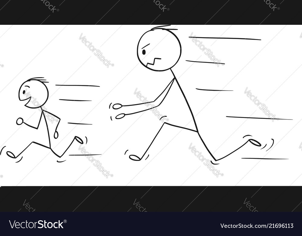 Cartoon frustrated and angry father chasing