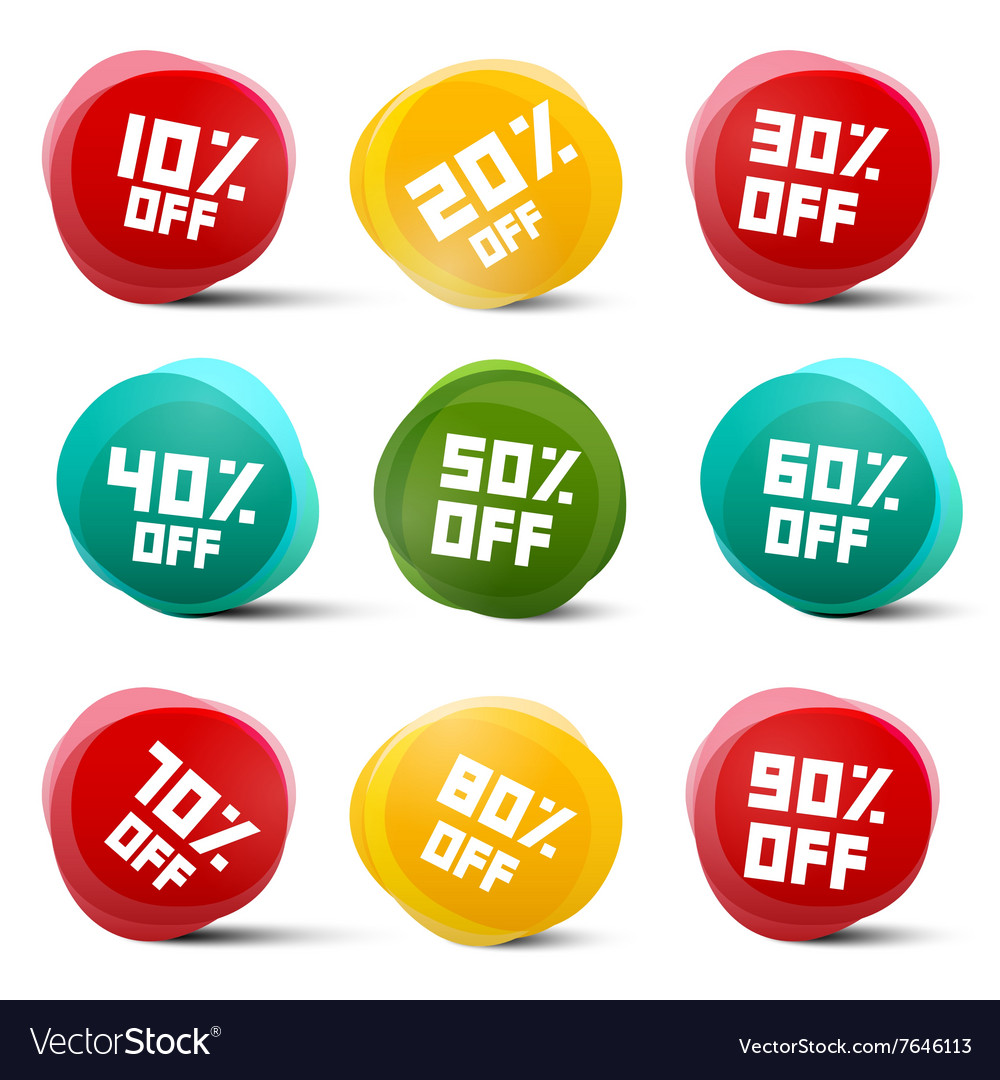 Circle Discount Tags Set Isolated on White