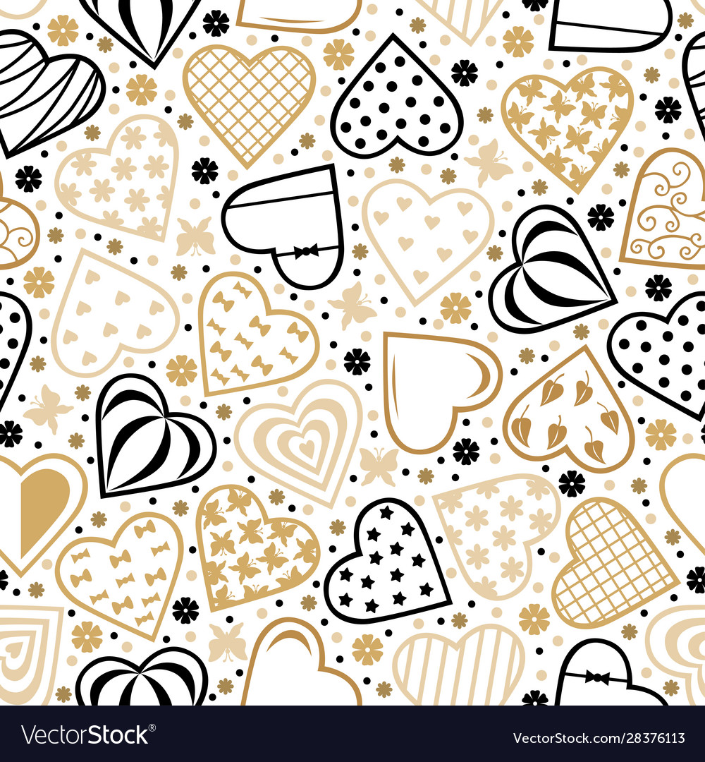 Decorative hearts pattern seamless for valentines