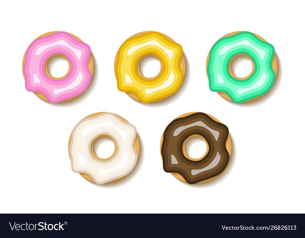 Donut set flat donuts dessert cake