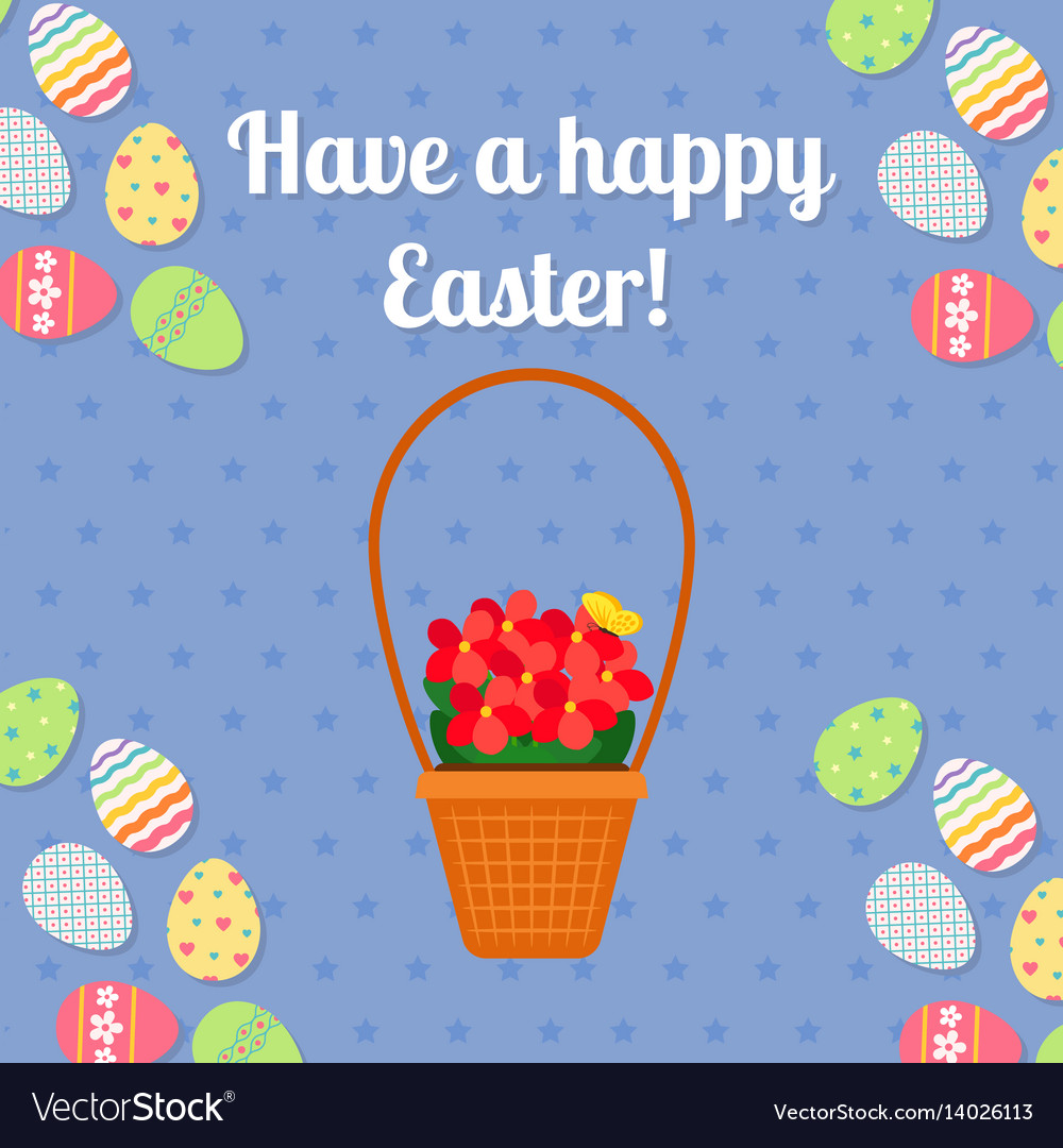 Happy easter blue card with eggs