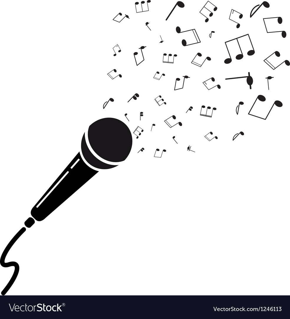 Microphone black silhouette with notes A isolated vector image