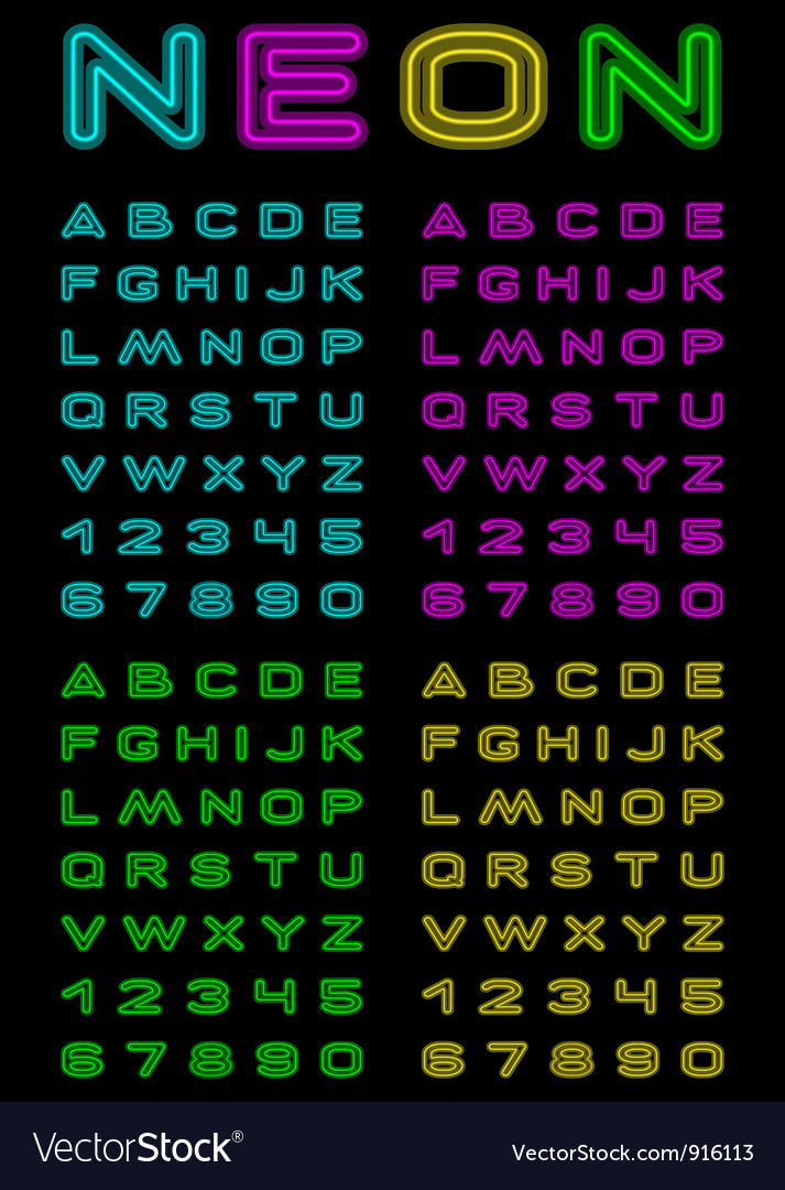 Neon color font vector image