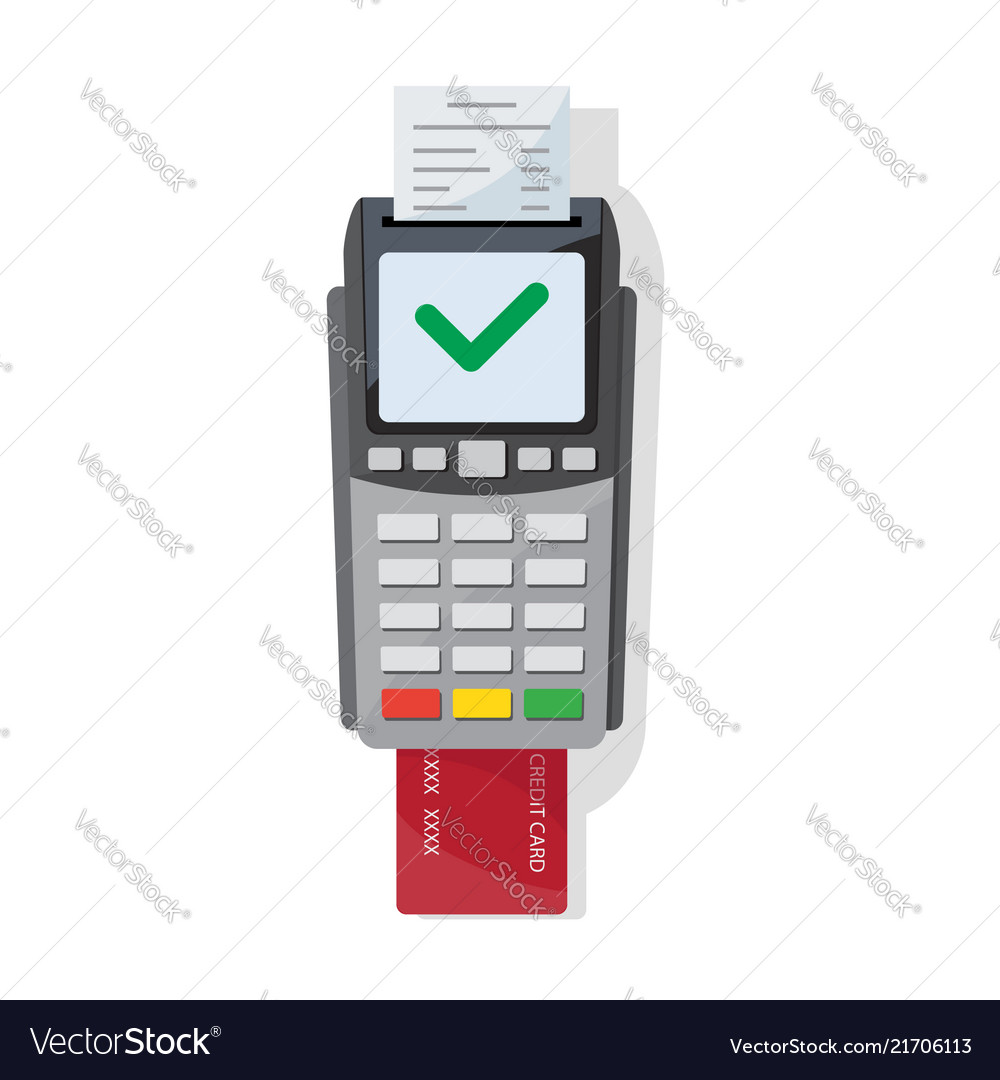 Payment machine and credit card icon in flat style