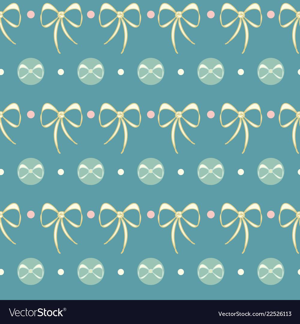 Retro candy dots lace bows seamless pattern