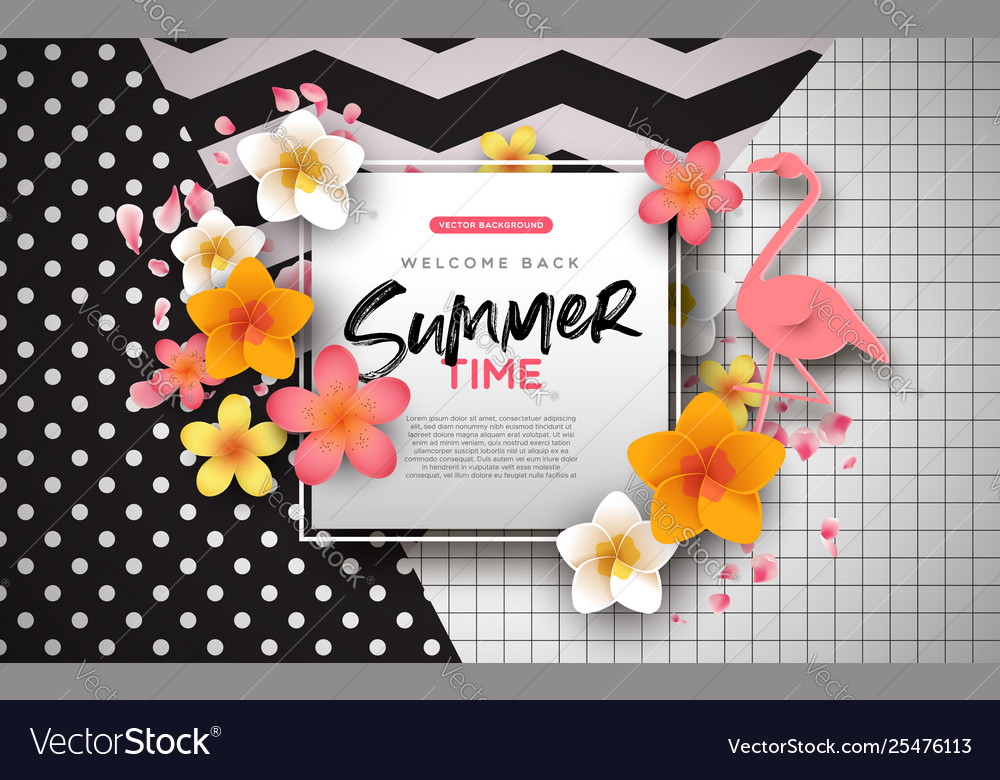 Summer background template exotic flowers