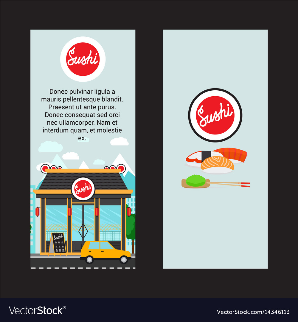 Sushi vertical flyers with shop building
