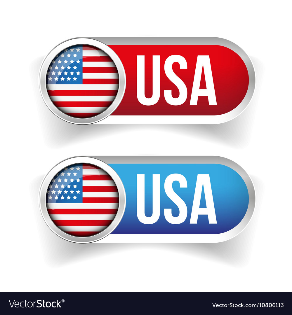 USA flag button set