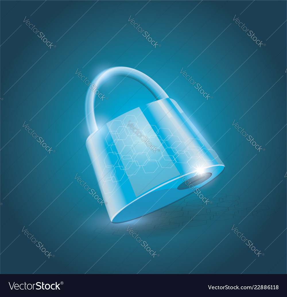 A locked lock on light blue background