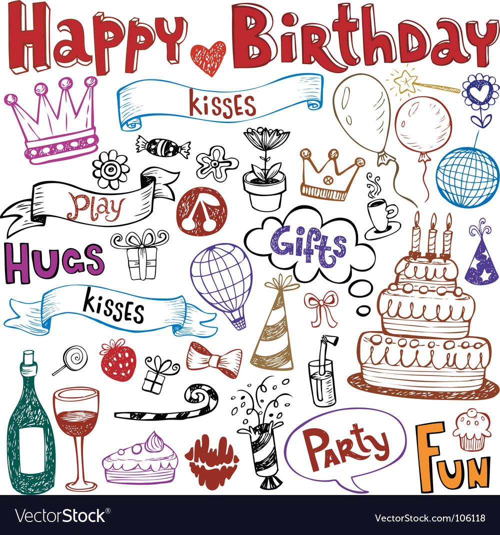 Birthday doodles vector image