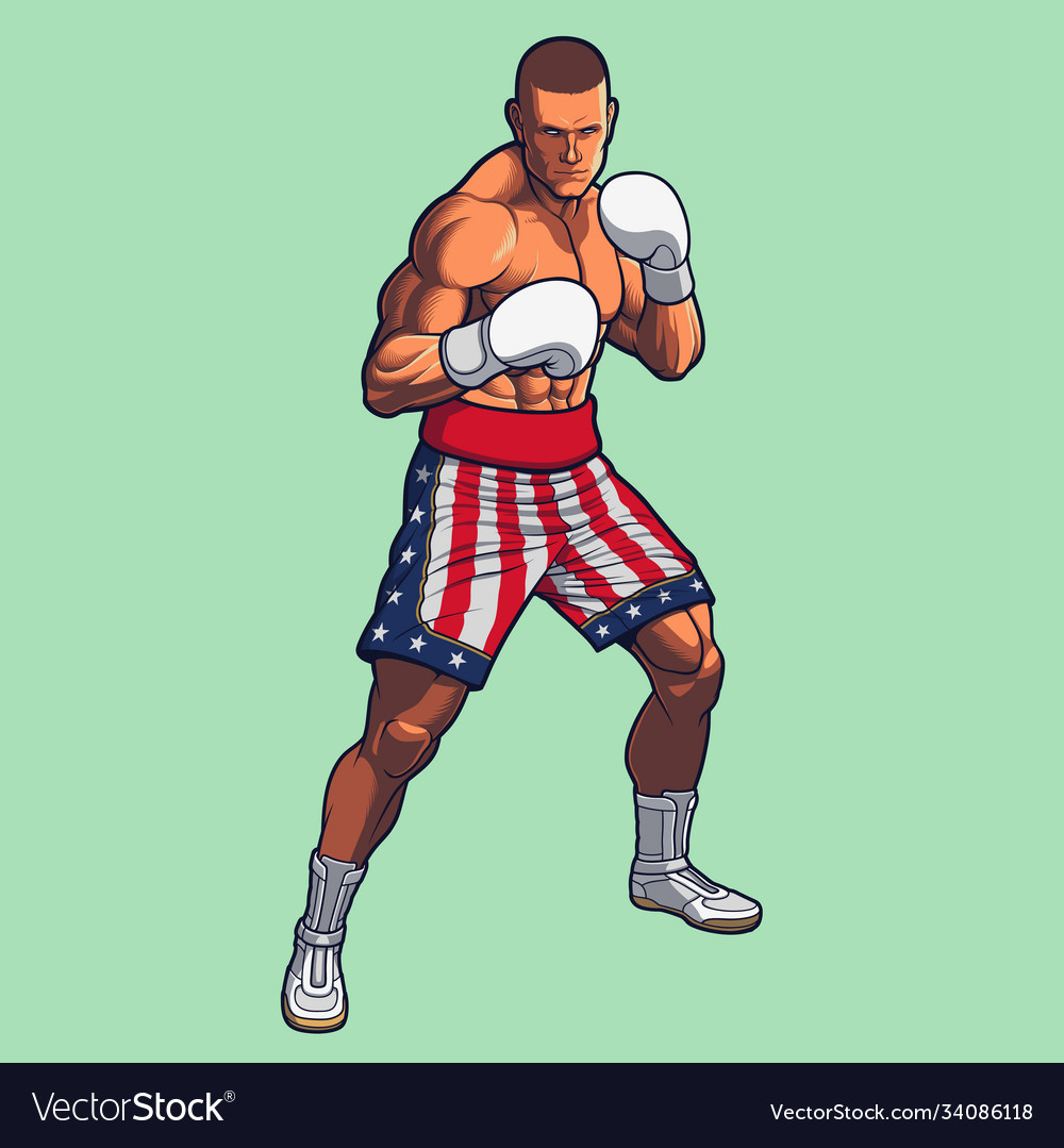Boxing fighter wearing usa flag boxing shorts