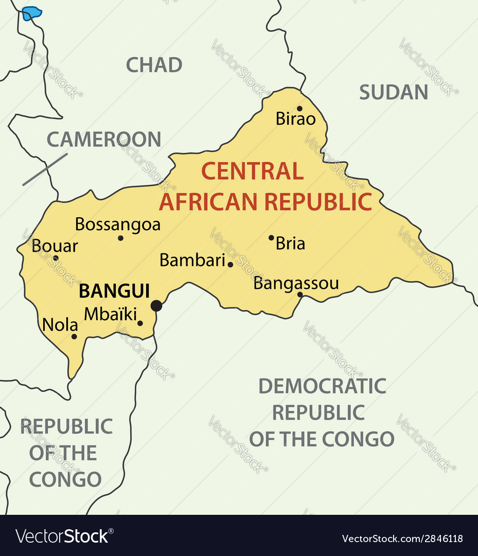 Central African Republic - map Royalty Free Vector Image on