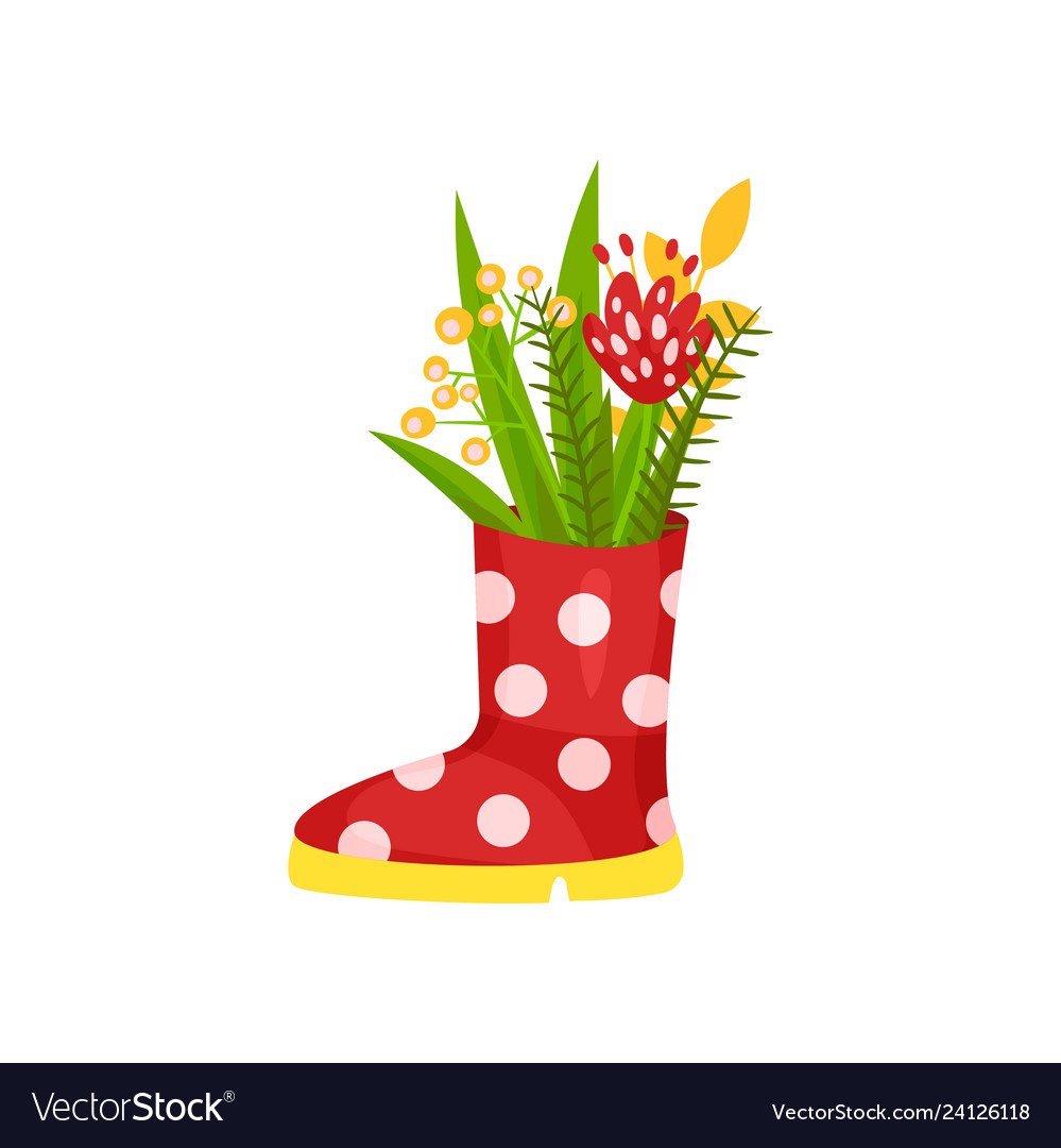 Cute flowers and green herbs in rubber polka-dot