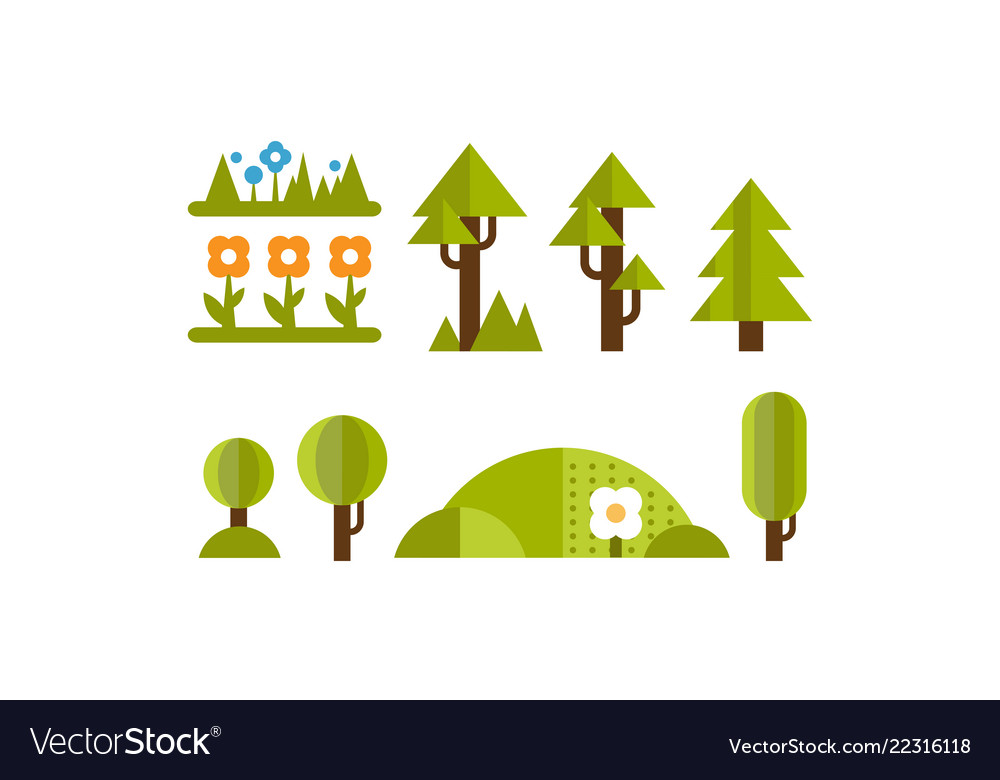 Cute green plants and trees set elements of the