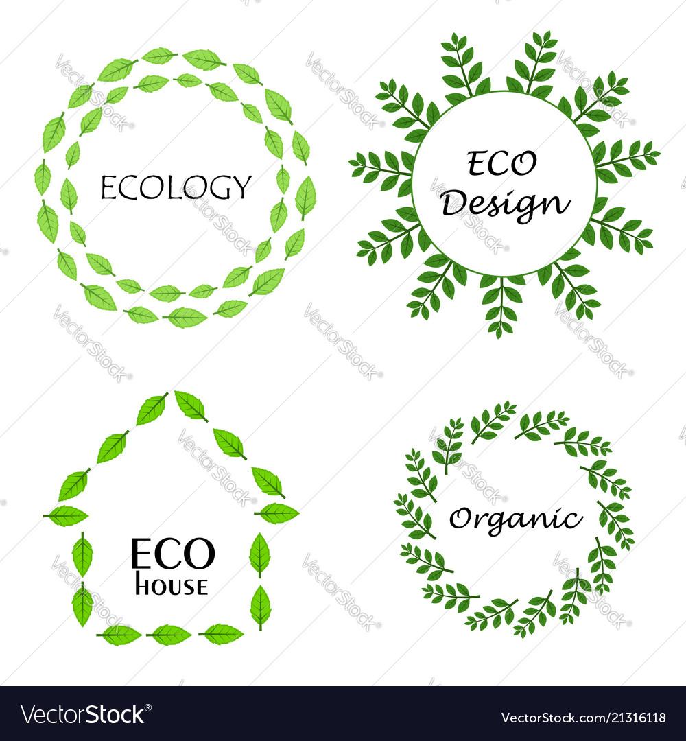 Eco leaf wreath logo set design template