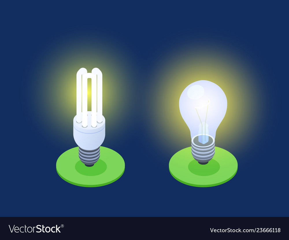Energy-saving and led lamps isometric