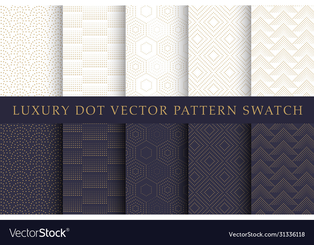Golden luxury dot pattern swatch set