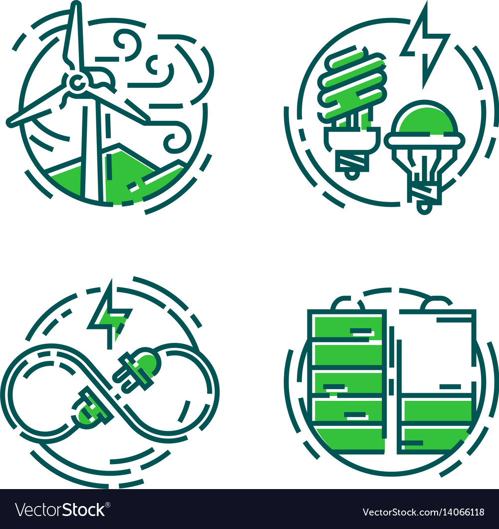 Green ecology energy conservation icons and