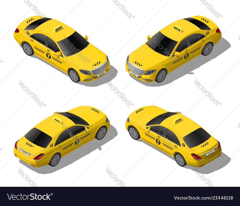 Isometric 3d flat yellow taxi car set