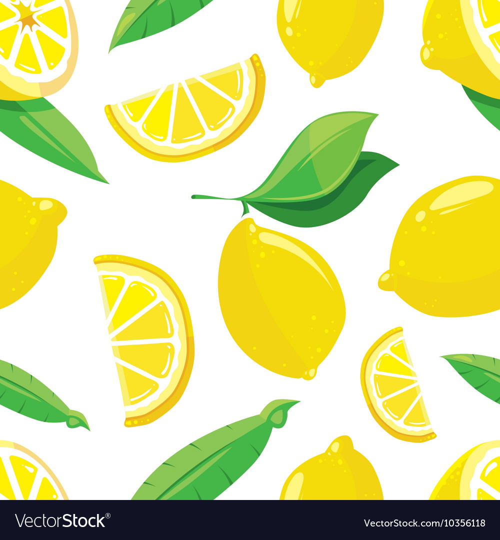 Lemon slices citrus seamless pattern vector image