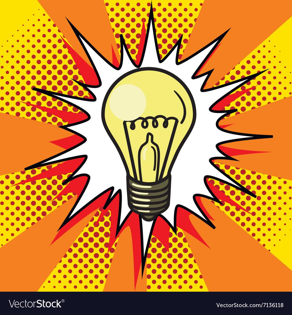 Light bulb lamp pop art style vector image