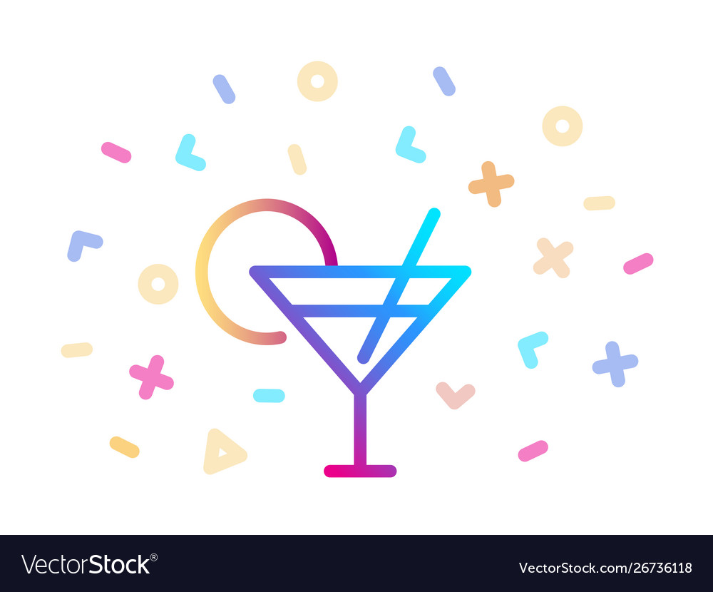 Linear colorful cocktail icon symbol fun and