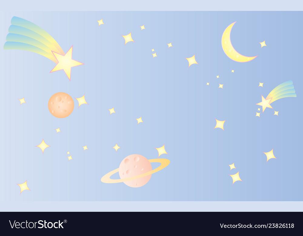 Pattern star space sweet cute pastel blue