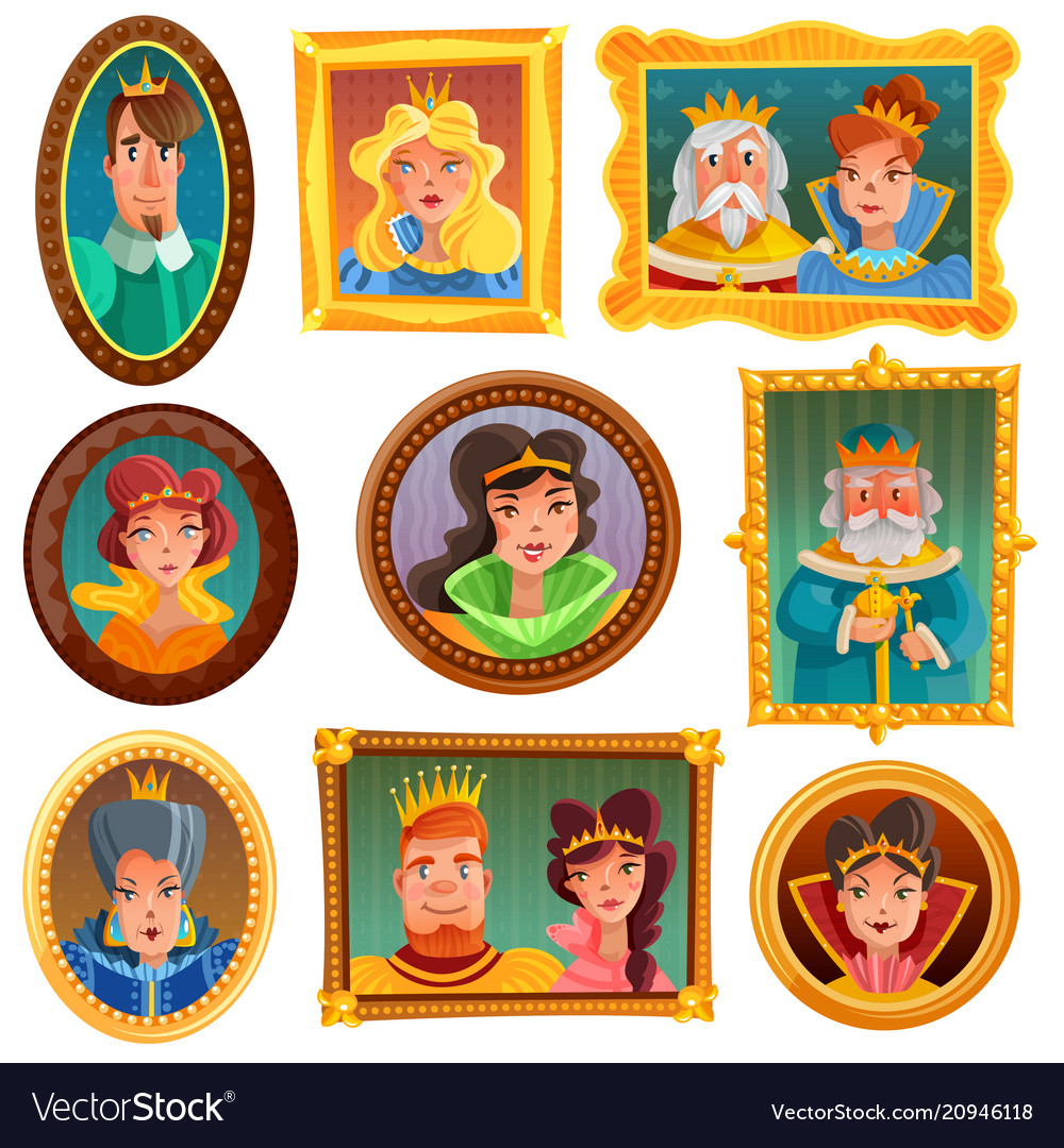 Princesses and queens portrait wall vector image