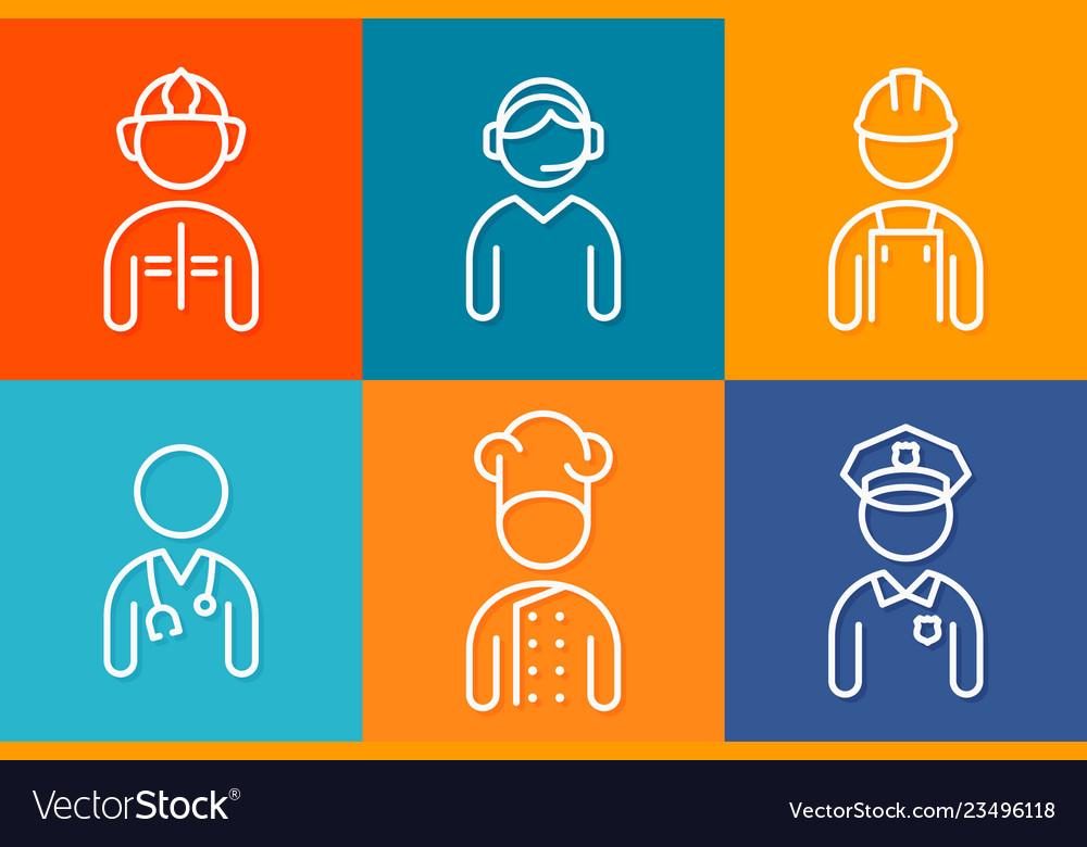 Profession set line icons set of people avatars