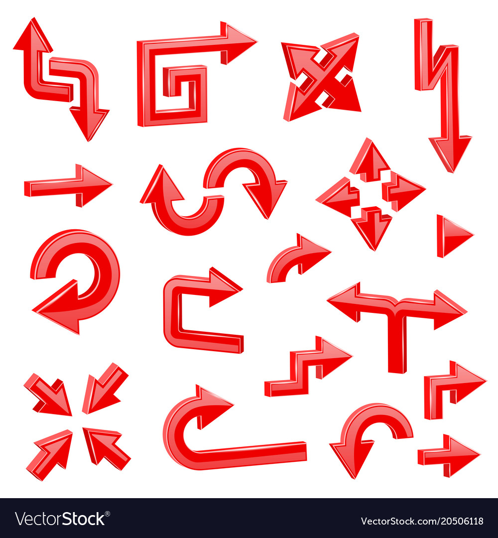 Red 3d arrows different directions