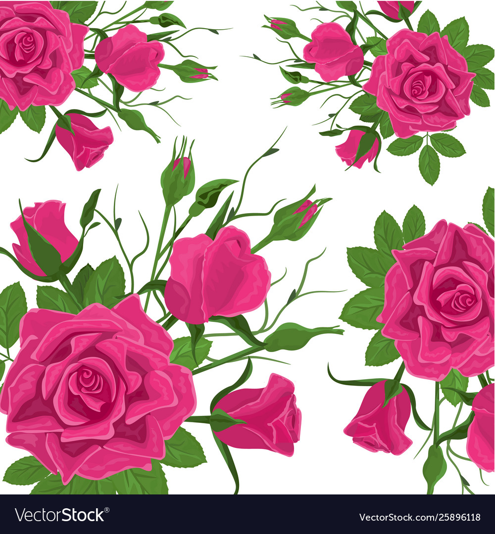 Seamless flower pattern vintage pink roses with