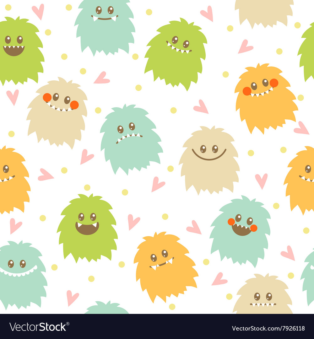 Seamless pattern with cute cartoon smiley monsters