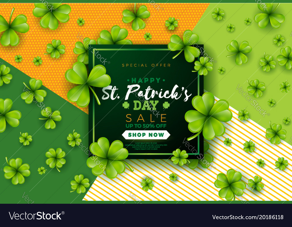 St patricks day sale design with clover and vector image