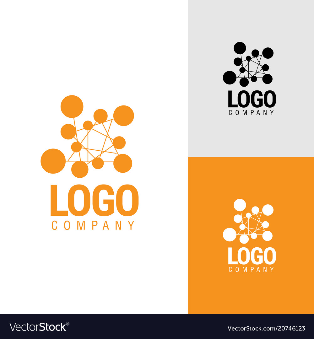 Abstract logo from circles connected by lines vector image