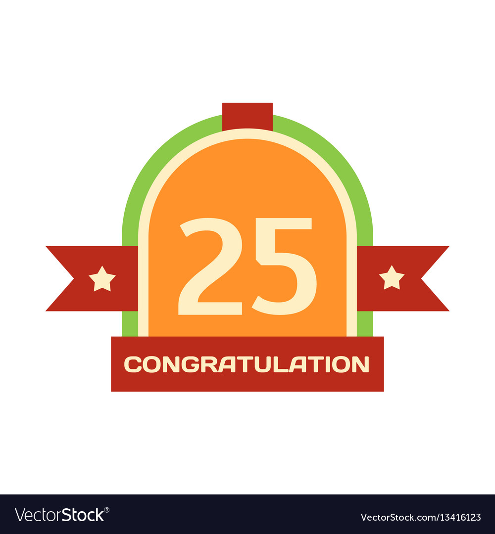 Birthday twenty-fifth badge banner design flat