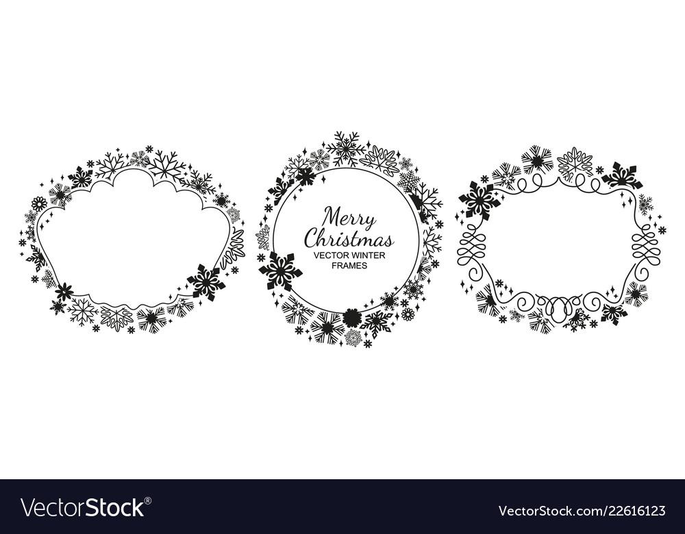 Black-white snowflake frame collection christmas